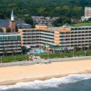 Virginia Beach hotel - Holiday Inn and Suites oceanfront hotel - aerial view of full rear exterior with beach and ocean