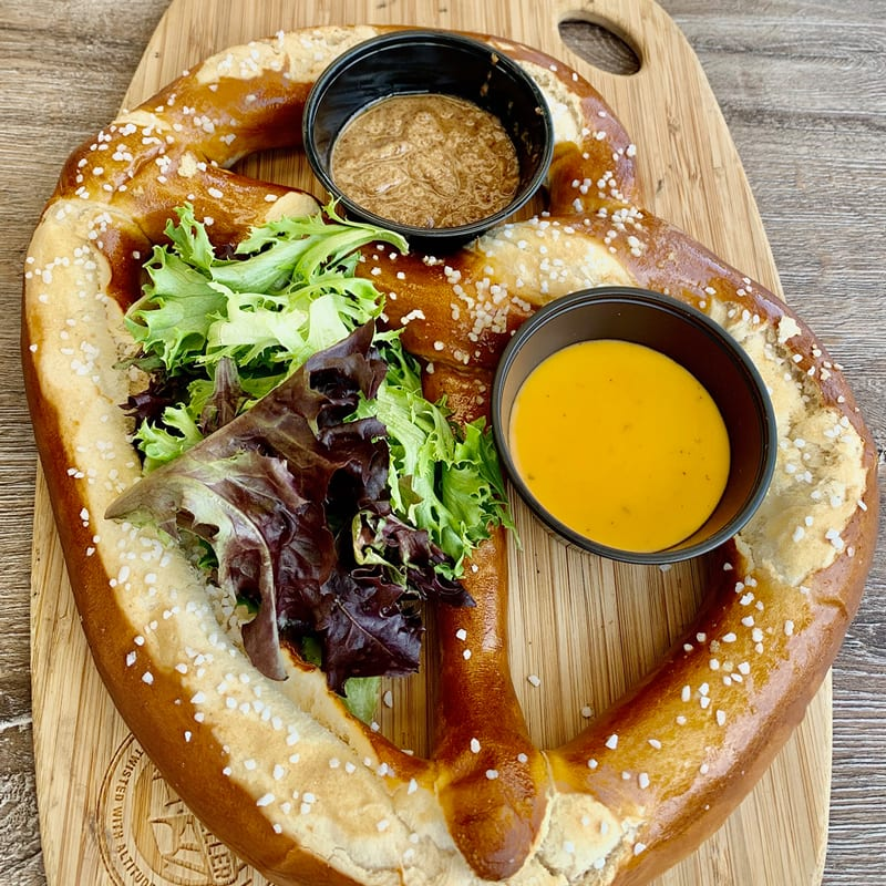 The Square Whale is Open for Patio Dining - virginia beach oceanfront restaurants - Colossal Bavarian style hand crafted pretzel